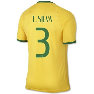 Camiseta de Brasil de la Seleccion WC2014 Primera T.Silva