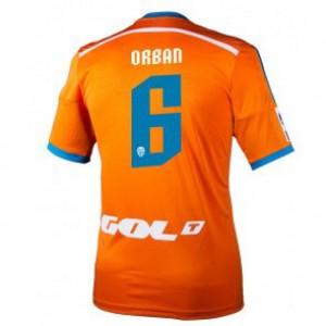 Camiseta Valencia Lucas Orban Segunda Equipacion 2014/2015