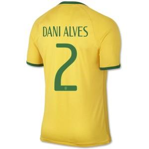 Camiseta Brasil de la Seleccion Dani Alves Primera WC2014